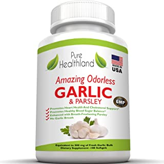 Amazing ODORLESS Garlic and Parsley Supplement Softgels for Men and Women. Equal to 500mg Fresh Garlic Bulbs. Best Garlic ...