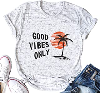 Good Vibes Only T-Shirt Women Cute Casual Letter Print Shirt Short Sleeve Tee Tops Blouse (Large, White)