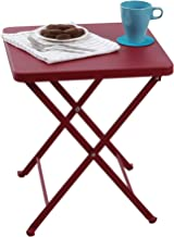 PHI VILLA Outdoor Folding Bistro Table- Patio, Porch Metal Side Table, Red
