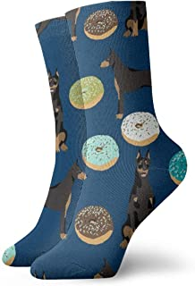 RIPO, Calcetines de algodón acolchados para entrenamiento, senderismo, caminata, deportes, para hombres y mujeres, doberman donuts niño azul marino