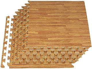 EVA Puzzle Tapis Mousse Bebe 60 x 60cm, 12 Pièces Tapis de Sol en Mousse à Emboîtement Tapis de Puzzle en Grain de Bois, D...