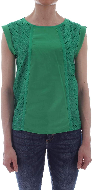 Marella Sport Women's 39410695GREEN Green Cotton TShirt