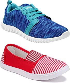 Shoefly Women Combo Pack of 2 Multicolour Latest Collection Loafers Sneakers Shoes (Combo-(2)-1162-11021)