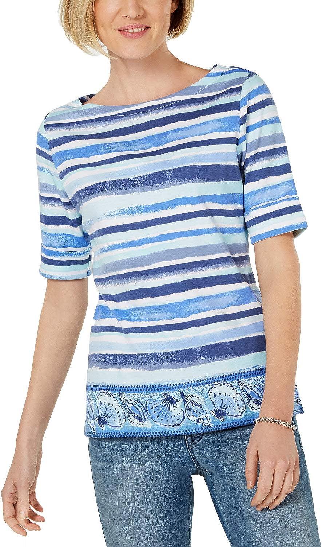 Pink//White//Blue Karen Scott Women/'s Plus Sizes 3//4 Studded Sleeve Boat Neck Top