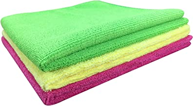 SOFTSPUN Premium Microfiber Cleaning Cloth for Car, Home & Kitchen - Automotive Drying Towel for Cleaning, 340 GSM - 40 X 40 CM, Multi-color - Pack of 3