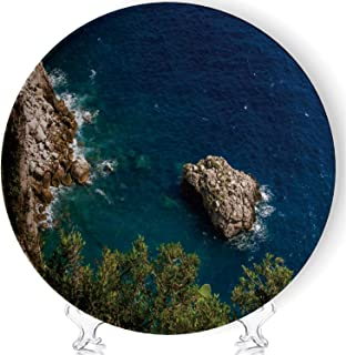 C COABALLA Fantastic Blue sea in The Capri Island Art Fashion Decorative Ceramic Plates Display Plate Crafts,with Stand,for Living Room of The Home,8''
