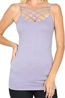 Re.Born Womens Crisscross Lattice Front Seamless Cami with/Without Adjustable Strap Tops Multi Pack [S-3XL]