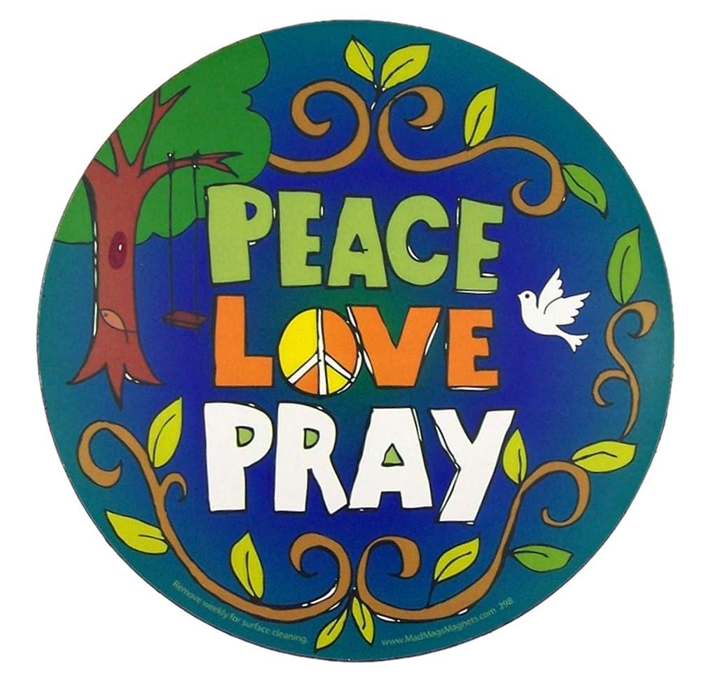 Peace Love Pray Magnet for Car Locker or Refrigerator, 8 5/8 Inch