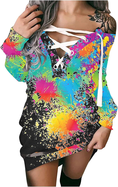 Color Block Dress for Women Sexy Bandage V-Neck Long Sleeve Midi Work Casual Sweatshirt Dresses