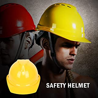 Hard Hat Safety Helmet - MASO EN397 5 Colors 4-Point Unisex Safety Helmet Ventilated Twist Lock Wheel for Guide, Powers, architect, Ladder, Engineers - YELLOW