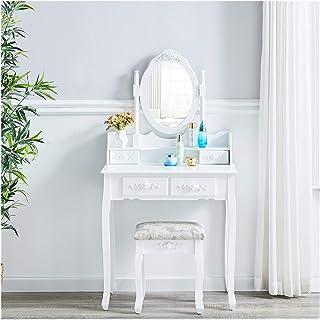 X-LSWAB Blanco Tocador con Espejo y Taburete de Maquillaje Escritorio Vanidad Tabla Set 4 cajones Mobiliario de Dormitorio...