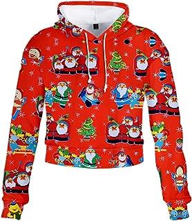 Women's Christmas Print Short Hooded Long Sleeve Sweatshirt Geometric Sweatshirts Raglan Hoodies with Pockets