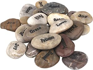 Stonebriar Inspirational Polished River Stones, Unique and Thoughtful Gift Ideas for Friends and Family, Decorative 25 Piece Set