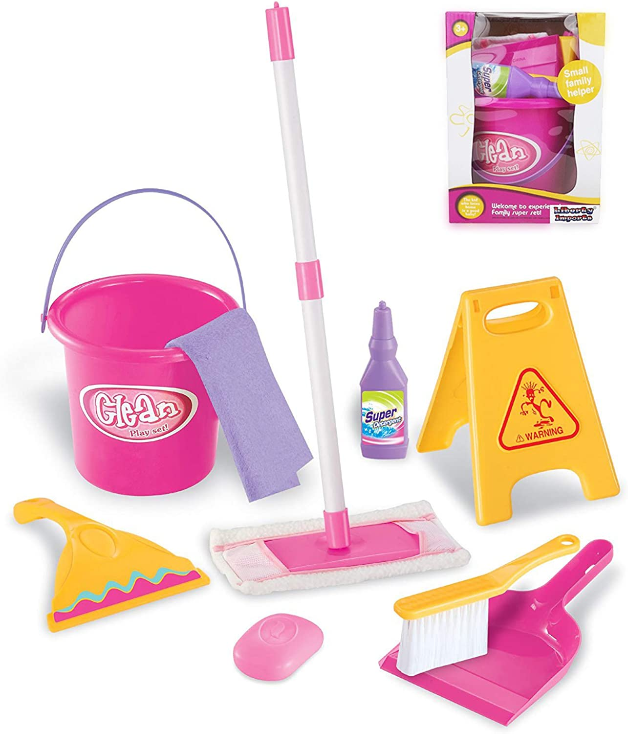 Little Helper Pretend Play Toy Cleaning Play Set w  Mop, Bucket, and Accessories