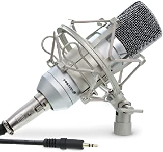 Fosmon Cardioid Condenser Microphone XLR, (Noise Reduction) 360 degree Uni-Directional Voice Recording with Mount & Windsc...
