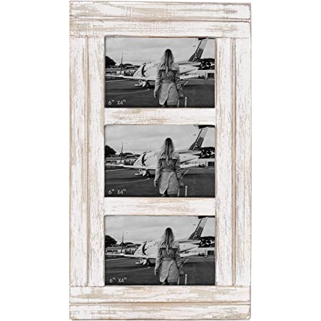 Distressed wood picture frame triple 4x6 blush pink and white