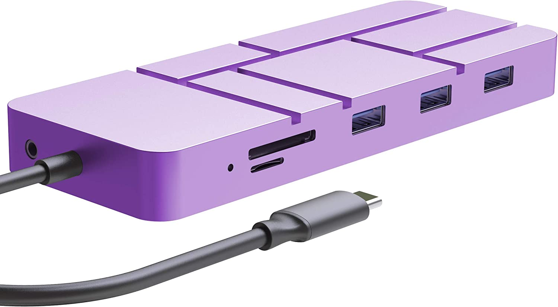Guanda Laptop Docking Station, USB C PD Charging Hub, 13-in-1 USB Hub with Ethernet, HDMI, DP, VGA, 4 Port-USB 3.0, Micro/SD/TF Memory Card Readers for Google Chromebook 2016 - GD4 Lavender Purple