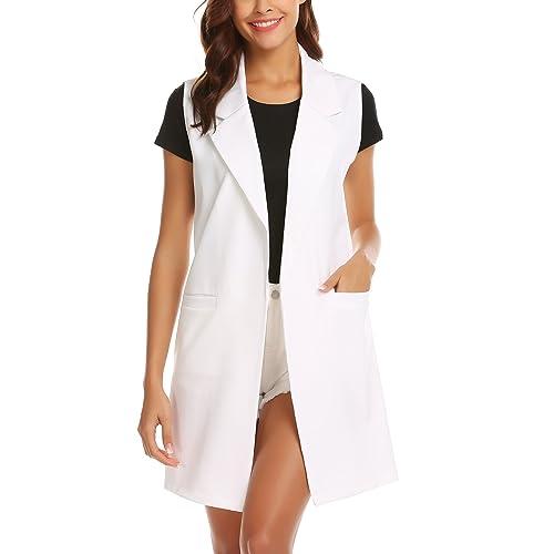 40d86d87f38530 Showyoo Women s Long Sleeveless Duster Trench Vest Casual Lapel Blazer  Jacket
