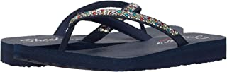 Skechers Cali Women's womens Meditation - Perfect 10 Square Rhinestone Embellished Thong Flip Flop, Navy Multi, 7 US