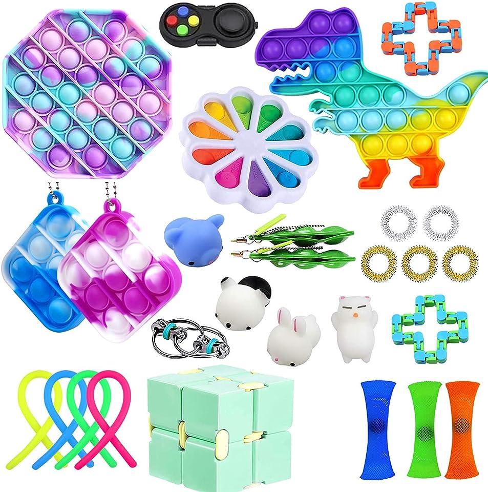 Sensory Fidget Spielzeug Set, Push Bubble Pop Fidget Toys, Stress Spielzeug Autismus Special Need Fidget Toy Set, Squeeze Toy für Kinder Erwachsene