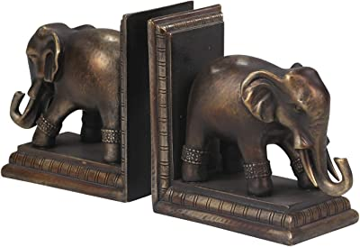Sagebrook Home 11597 Elephant Bookends, Antique Black Polyresin, 12 x 3.25 x 6 Inches (Set of 2)