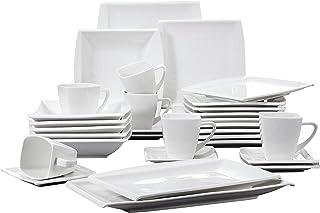 MALACASA, Série Blance, 32pcs Services de Table Porcelaine Vaisselles pour 6 Personnes