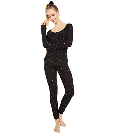 Plush Thermal Heart Pajama + Scrunchie Set (Black/Red) Women
