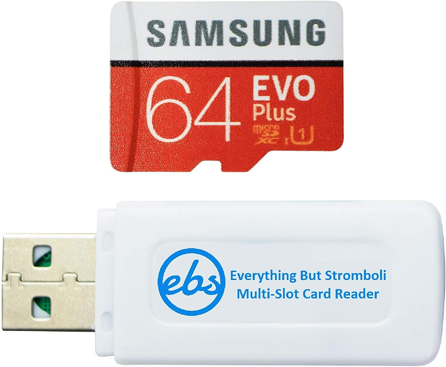 Samsung Evo Plus 64GB Micro SDXC Memory Card Works with Canon Ivy CLIQ+ 2, Ivy CLIQ 2 Instant Camera, Ivy REC Action Camera (MB-MC64) Bundle with (1) Everything But Stromboli MicroSD & SD Card Reader