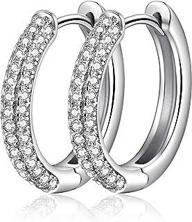 Jiahanzb 18K Oro Placcata Simulato Diamante Brillanti Orecchini a Cerchio 925 Argento Sterlina 5A Zirconi Orecchini per Do...