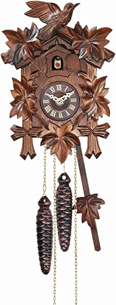 River City Clocks 12 Melody Quartz Cuckoo Clock With Five Leaves And Bird
