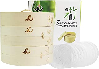 Yuho Asian Kitchen Bamboo Steamer 6–Inch, Individually Box, 2 Tiers & Lid, 10 Parchment Liners, Perfect For Steaming Dumplings, Vegetables, Meat, Fish, Rice, Healthy Lifestyle, 100% Natural Bamboo