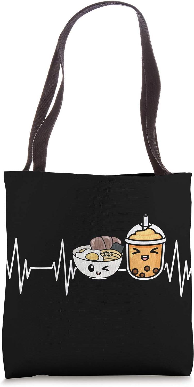 Asian Food Japanese Noodles Boba Bubble Tea Heartbeat Ramen Tote Bag
