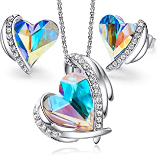 CDE Pink Angel 18K Rose Gold Jewelry Set Women Heart Pendant Necklaces and Stud Earrings Sets Embellished with Crystals from Swarovski for Her