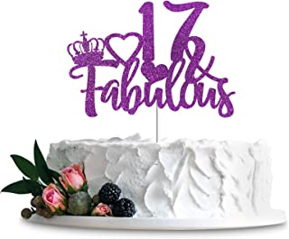 Purple Glittery 17 & Fabulous Cake Topper, Happy 17th Birthday Cake Decor, Cheers to 17 Years Party Decorations Supplies (...
