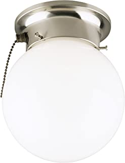 Westinghouse Lighting 6720800 One-Light Flush-Mount Interior Ceiling Fixture with Pull Chain, Brushed Nickel Finish with White Glass Globe,