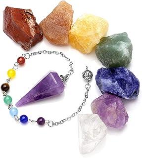 JSDDE 7 piedras crudas de chakras, cristales de roca áspera y péndulo de piedra natural de dowing, juego de joyas de medit...