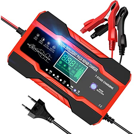 YDBAO Cargador Baterias Coches Moto, 12V/24V 10Amp Cargador de Batería Inteligente Completamente Automático con Pantalla LCD y Múltiples Protecciones para Baterías de Plomo-ácido/AGM/Gel/EFB