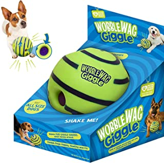 ANTOLE Dog Playing Ball Wobble Wag Giggle Chewing Ball Interactive Dog Toy Puppy Training Ball with Funny Vocal Balt Pet T...