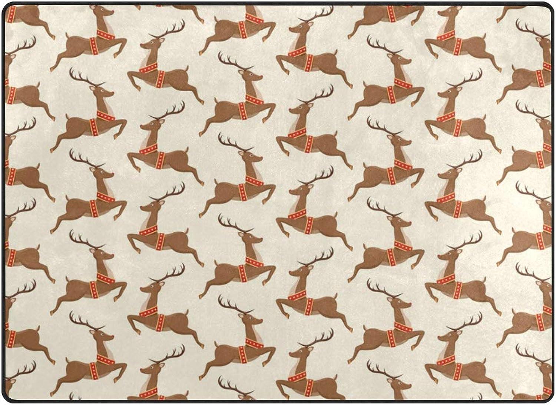 FAJRO Christmas Rudolph Reindeer Polyester Entry Way Doormat Area Rug Multipattern Door Mat Floor Mats shoes Scraper Home Dec Anti-Slip Indoor Outdoor