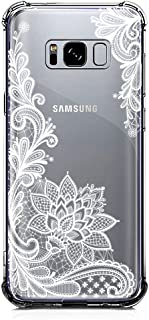 Galaxy S8 Plus Case Clear with Lace Design Shockproof Protective Case for Samsung Galaxy S8 Plus 6.2 Inch Cute Henna Flowers Pattern Flexible Slim Rubber White Floral Cell Phone Cover for Girls Women