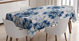 Ambesonne Ethnic Tablecloth, Tie Dye Effect Print Art Featured Odd and Hazy Forms in Symmetric Axis Design, Dining Room Kitchen Rectangular Table Cover, 52