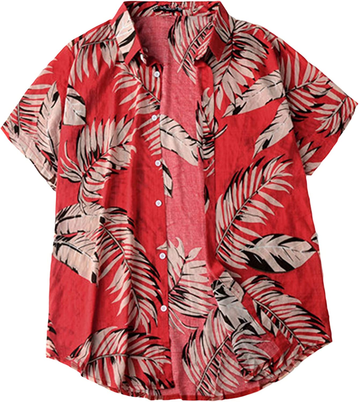 Lu's Chic Men's Cotton Shirt Hawaiian Collared Shirts Button Down Short Sleeve Beach Aloha