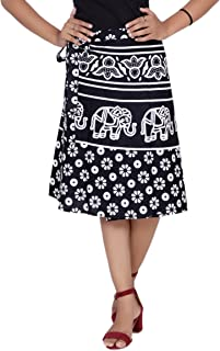 Pezzava Women's Cotton Animal Printed Skirt (SKT-WCK-A0381, Black and White, Free Size)