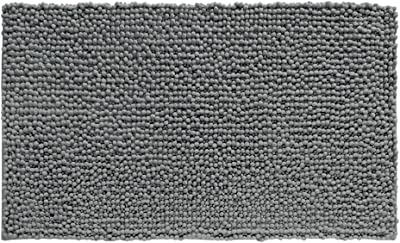 "iDesign Frizz Microfiber Non-Slip Bath and Shower Mat - 30"" x 20"", Charcoal"