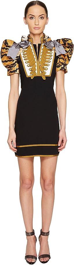 Tiger Puff Short Sleeves Mini Dress