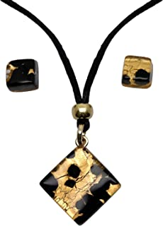Murano Glass Set of Amber Pendant and Earrings