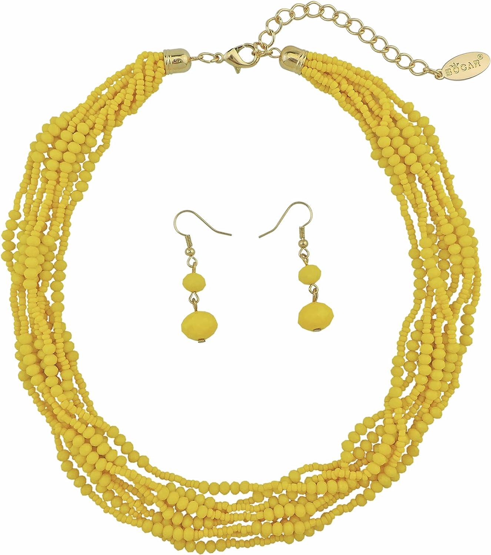 BOCAR Multiple Strand Handmade Beaded Statement Collar Necklace Earrings Set for Women (NK-10602)
