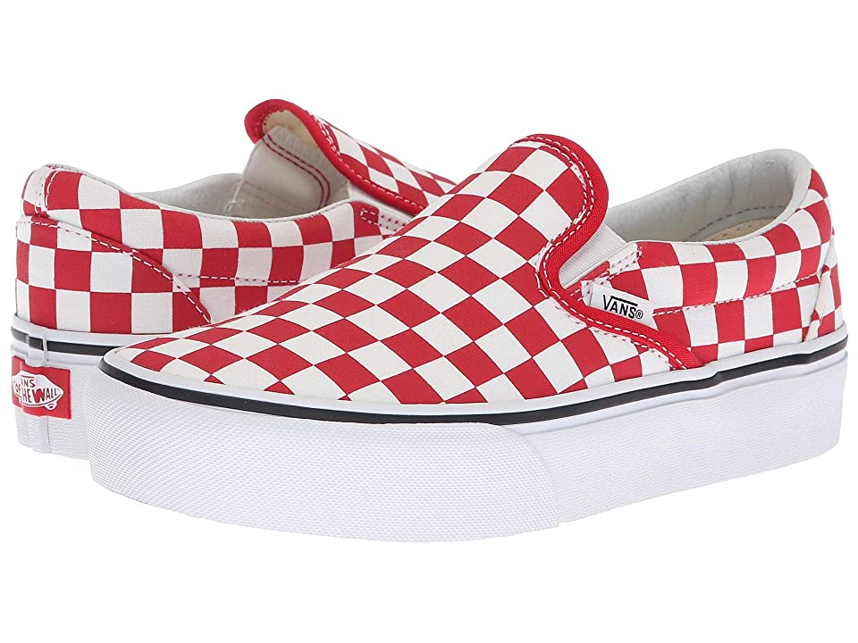 Vans Classic Slip-On Platform ((Checkerboard) Racing Red/True White) Slip on Shoes