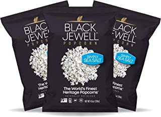 Black Jewell Simply Sea Salt Hulless Heirloom Popped Popcorn 4.5 Ounces (Pack of 3)