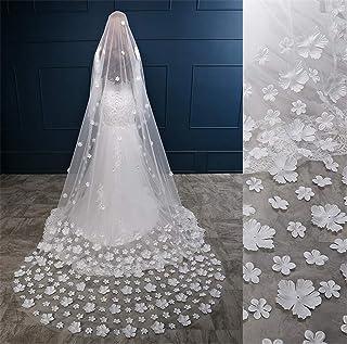 1T Elegant Bridal Veils 3D Flower Chapel Cathedral 3 Meters Long Bride +Veil Women Wedding Accessories 0607 yynha (Color :...